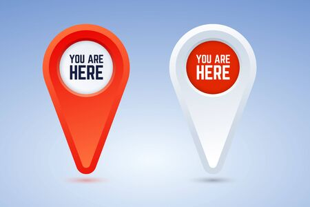 You are here map pins. Vector illustration in two color options. Red and white pins for use in maps, plans, and others. 版權商用圖片 - 141446372