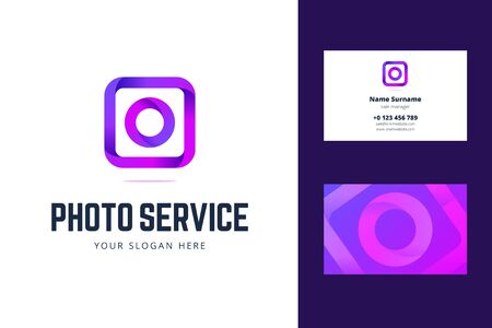 Logo and business card template for photo service, studio. Vector illustration in line, origami, gradient style with a camera, photo sign.