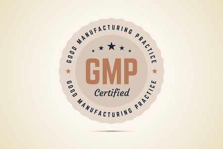 Good manufacturing practice certified sign in retro style. Vector label for manufactures and producers. Banco de Imagens - 142738387