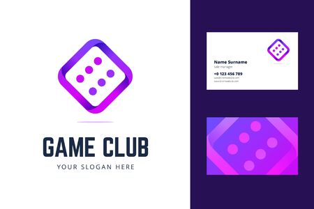 Logo and business card template with dice sign. Vector illustration for a game club, casino, poker club, and others. Illustration