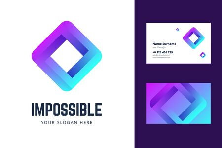 Logo and business card template with an impossible square sign. Vector illustration in modern gradient style. 版權商用圖片 - 142738385