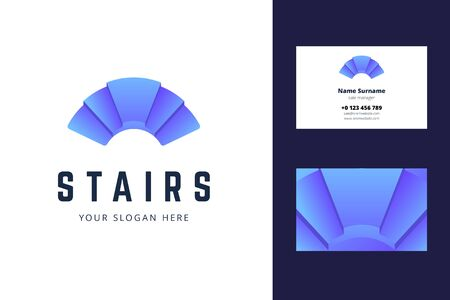Logo and business card template with stair sign. Vector illustration in gradient style for architectors. Illustration