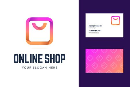 Logo and business card template for online shop, store. Shopping bag sign in modern gradient line style. Vector illustration for internet shopping.