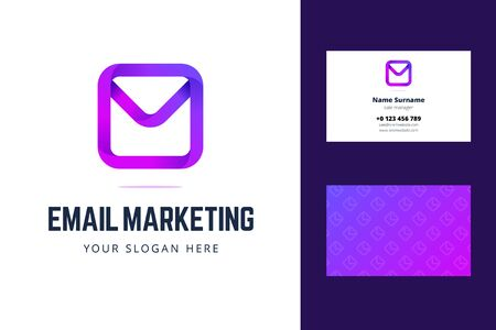 Logo and business card template for email marketing. Envelope, email, mail sign in modern gradient style with overlapping effect. Vector illustration. Illustration