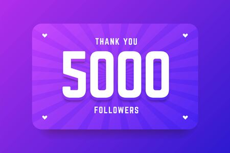 5000 followers illustration in gradient violet style. Vector illustration for celebrating number of followers and subscribers. Illustration