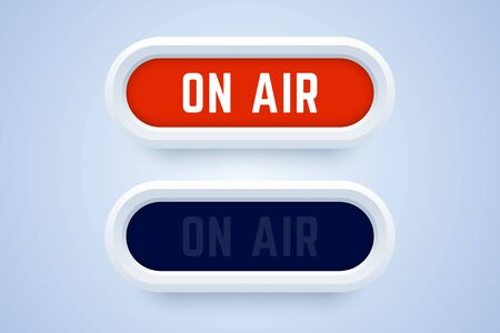 On air button, sign, label in 3d style. Switched on and switched off buttons. Vector illustration for radio, live stream, and others.