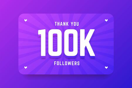 100k followers illustration in gradient violet style. Vector illustration for celebrating number of followers and subscribers. Illustration