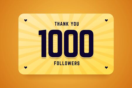 1000 followers vector illustration. Vector illustration for celebrating a large number of subscribers in social networks. Illustration
