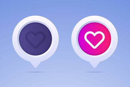 Like button in 3d style and two options. Active button and nonactive button with heart shape and speech bubble. Vector illustration for social media likes.