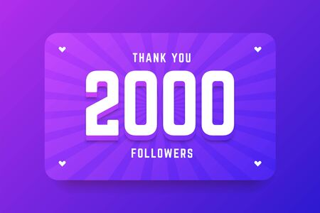 2000 followers illustration in gradient violet style. Vector illustration for celebrating number of followers and subscribers.