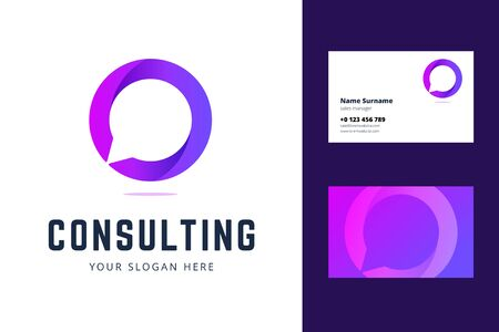 Logo and business card template for consulting, support and chat services. Vector illustration in gradient violet style with speech bubble symbol.