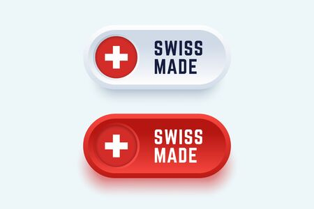 Swiss made. Vector sign in two color styles with a national swiss flag for national products and producers.