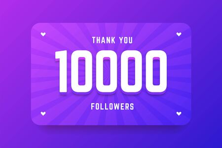 10000 followers illustration in gradient violet style. Vector illustration for celebrating number of followers and subscribers. Illustration