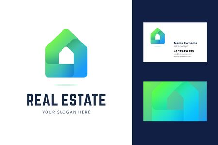 Logo and business card template for real estate, house rental services. Simple geometric house symbol in modern gradient line style. Vector illustration. Illustration