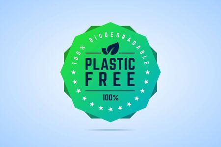 Plastic free badge. 100 percents biodegradable. Vector illustration. Ilustração