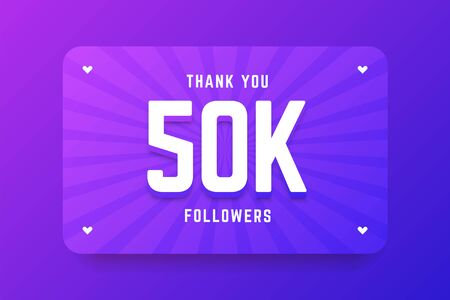 50k followers illustration in gradient violet style. Vector illustration for celebrating number of followers and subscribers. Illustration