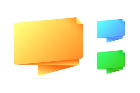 Abstract origami speech bubble in three different colors. Vector illustration. Illustration