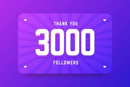 3000 followers illustration in gradient violet style. Vector illustration for celebrating number of followers and subscribers. Illustration
