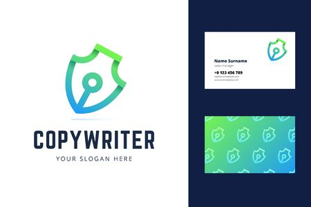 Pen symbol logo and business card. Logotype for copyrighters, bloggers, writers, journalists. Vector illustration in modern gradient line origami style.