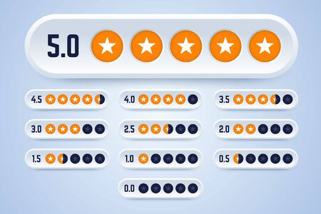Set of rating labels with stars. 3d rating buttons from 0 to 5 stars. Vector illustration for review and testing. Illustration