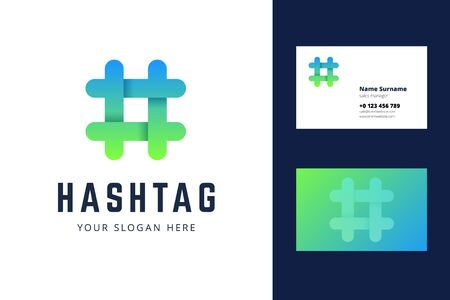 Hashtag logo and business card template. Vector illustration for bloggers, social media.