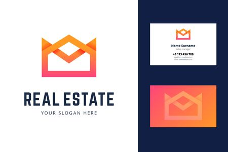 Logo and business card template for real estate, house rental services. Simple geometric house, crown symbol in modern gradient line style. Vector illustration.