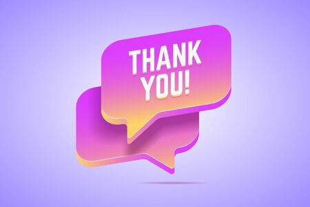 Speech bubble that says thank you. Vector illustration in modern gradient style. 向量圖像