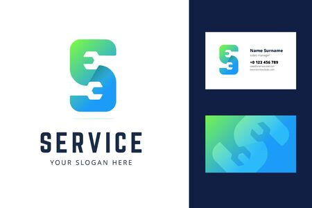 business card template for auto, repair services, system administrators, car services. Vector illustration with wrench sign in origami, overlapping style. Illustration