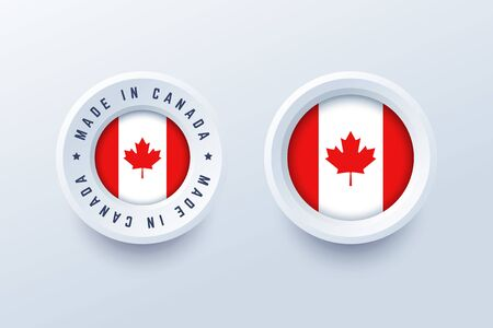 Made in Canada round label, badge, button, sticker with Canadian national flag. Vector illustration in 3d style for Canadian producers.