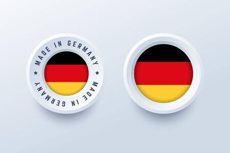 Made in Germany round label, badge, button, sticker with German national flag. Vector illustration in 3d style for German producers. Illustration