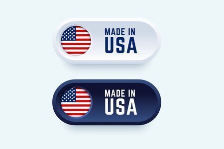 Made in USA label. Vector illustration in 3d style for United States producers. 向量圖像