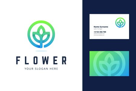 Flower  and business card template. Vector illustration with lotus flower sign for cosmetics brands, spa, medical centers, and green pharmacy. Logotype in modern line style with a green gradient.