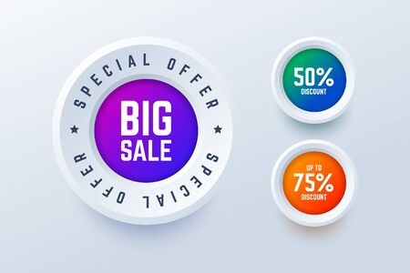 Special offer big sale round labels. 50 percent discount and up to 75 percent discount buttons. Vector illustration for shop sales and promotions in 3d style. Illustration