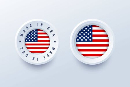Made in USA label, sign, button, badge with United States national flag. Vector illustration in 3d style for United States producers. Illustration