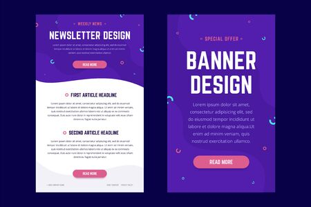 Newsletter, email design template, and vertical banner design template. Modern gradient style with shapes on the background. Vector illustration for web email promotions and landing pages.
