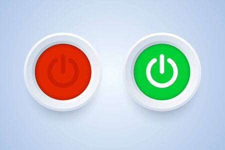 Power off and power on button in 3d style. Red and green switches buttons. Vector illustration.