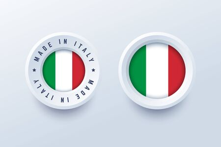 Made in Italy round label, badge, button, sticker with Italian national flag. Vector illustration in 3d style for Italian producers.