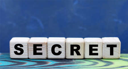 concept word SECRET on wooden cubes on a gray background. Business concept