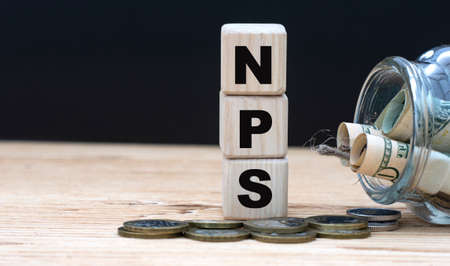 NPS (Net Promoter Score) - on cubes on the background of a capacity with money. Business and finance. 版權商用圖片