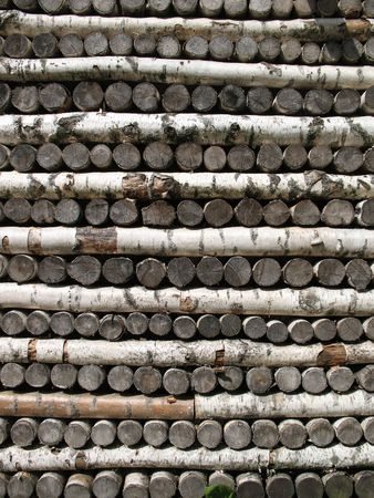 Stack of birch firewood photo
