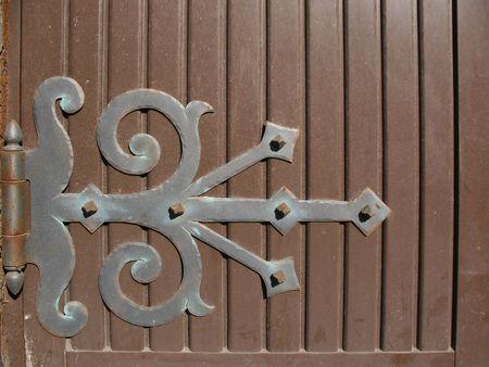 hinge: Hinge on wooden door