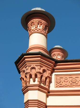 chorale: A fragment of the Big Chorale Synagogue.Turret on the blue sky background. Saint-Petersbourg. Stock Photo