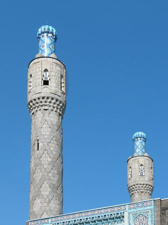 mohammedan: The cupola of St. Petersburgs cathedral mosque on the blue sky background. Ceramic pattern.
