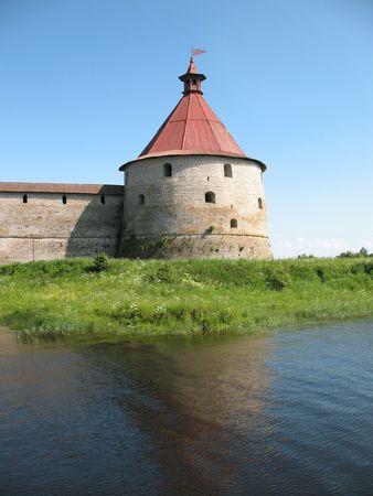 Watchtower of Schlisselburg fortress near Saint-Petersburg, Russia photo