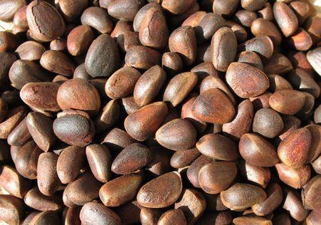 siberian pine: Pine nuts (seeds of Siberian pine).  Background Stock Photo
