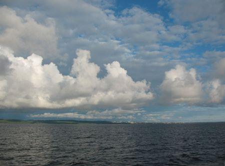 onega: On the horizon Petrozavodsk. Russia, Lake Onega