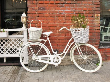 Detail design summer cafe with a bicycle, painted white Stock Photo - 7836794