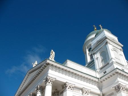 Cathedral op Senaat Square in Helsinki Stockfoto