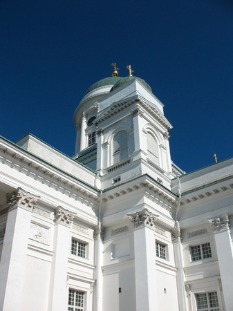 engel: Cathedral on Senate Square in Helsinki Stock Photo