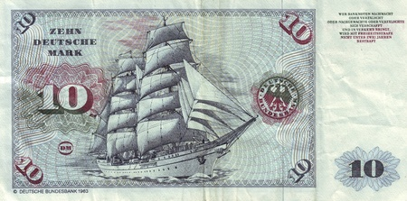 Banknotes in 10 DM 1963  with the image of the ship �Gorch Fock II�